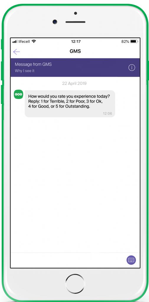 GMS Viber Business Account mobile screenshot example