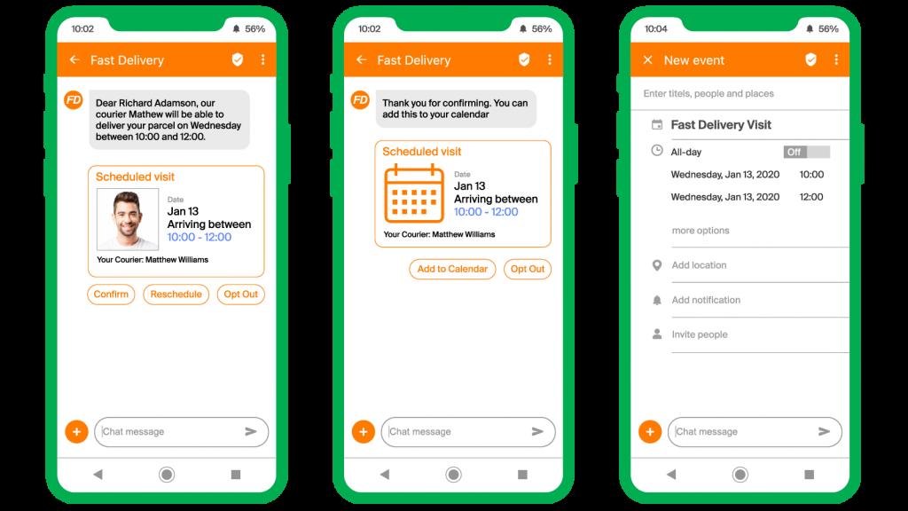 RCS message example screenshot mobile