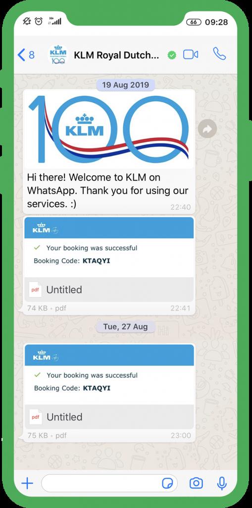 whatsapp business messaging klm case